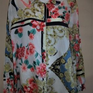 Johnny Was 100% Silk Long Sleeve Floral Top Sz M